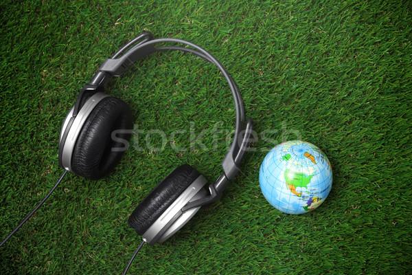 Global de audio comunicación auriculares tierra mundo Foto stock © Novic