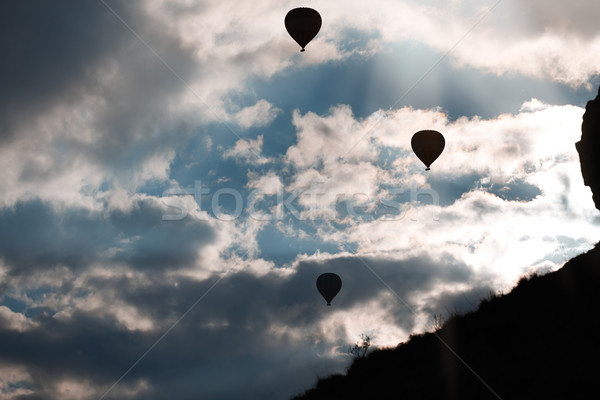 Silhouette of air balloons in the sky Stock photo © Novic