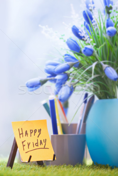 Stock photo: Adhesive note with Happy Friday text  at green office