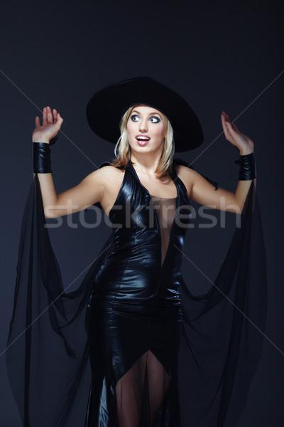 Jonge heks mooie dame kostuum donkere Stockfoto © Novic
