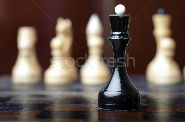 Sakk játék fekete királynő csoport fehér Stock fotó © Novic