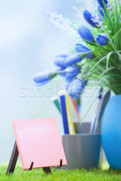 Adhesive note with empty space at green office Stock photo © Novic