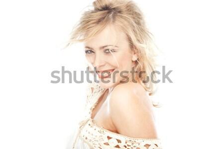 Riendo rubio dama blanco nina sonrisa Foto stock © Novic