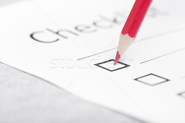 チェックリスト 赤 鉛筆 日々 計画 水平な ストックフォト © Novic