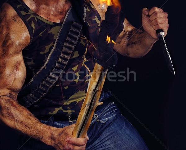Vücut kas komando bıçak el feneri Stok fotoğraf © Novic