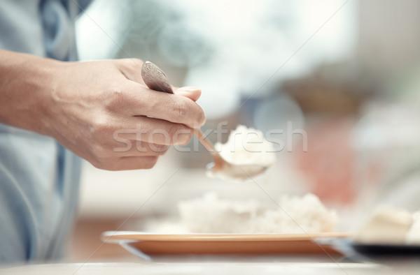 Kahvaltı kadın el kaşık gıda Stok fotoğraf © Novic