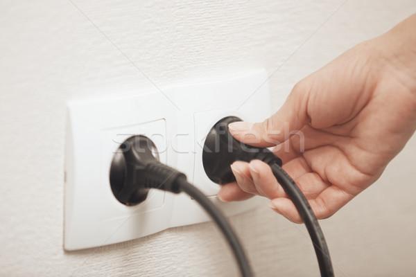 Elektrik fiş kadın kablo ev siyah Stok fotoğraf © Novic