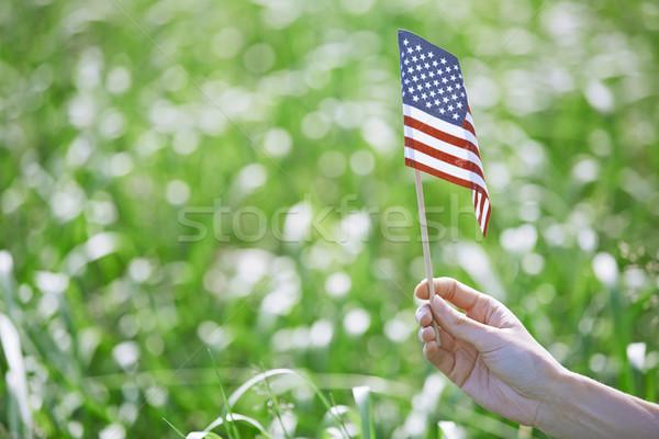 Foto stock: Mulher · bandeira · mão · primavera · verão