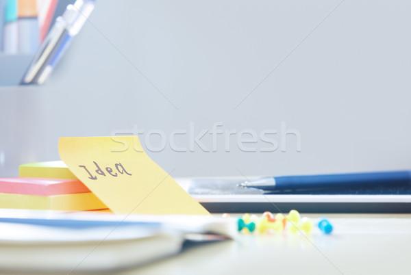 Fikir metin yapışkan dikkat ofis iş Stok fotoğraf © Novic