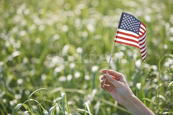 Stok fotoğraf: Kadın · bayrak · el · çim · yaz