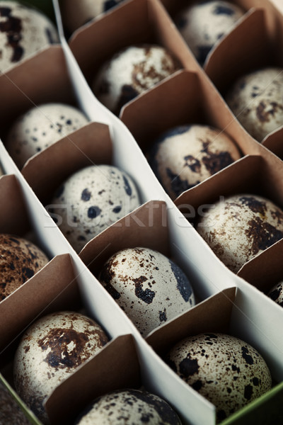 Carton box with quail eggs Stock photo © Novic