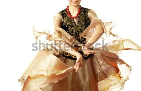 Távolkeleti táncos tánc nő fehér jelmez Stock fotó © Novic