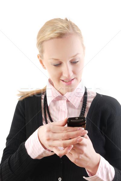 Sms mijn collega's zakenvrouw lezing schrijven Stockfoto © Novic