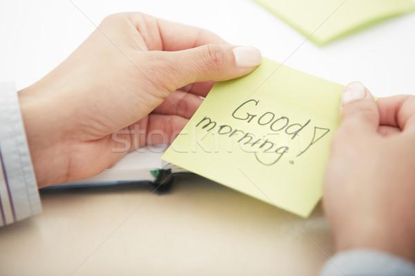 Dzień Dobry Tekst Przyczepny Papieru Ręce