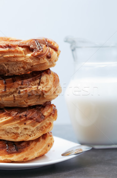 Glazed Doughnuts on a dessert plate Stock photo © Novic
