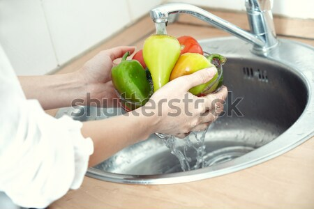 Washing vegetables Stock photo © Novic