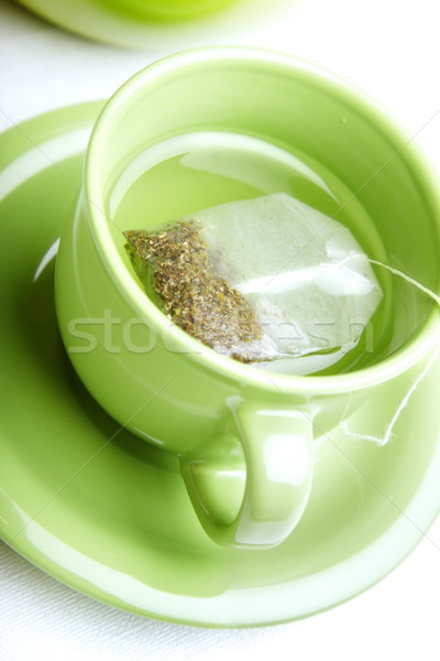 Zöld tea tea táska zöld csésze fehér Stock fotó © Novic