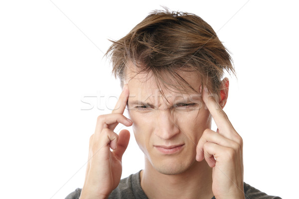Stress hoofdpijn jonge man gevoel emotionele stress triest Stockfoto © Novic