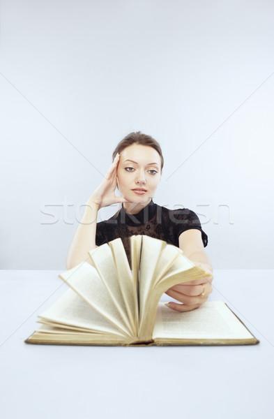 интересный книга улыбаясь Lady таблице чтение Сток-фото © Novic