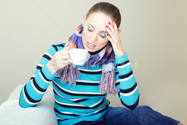 高い 温度 病気 女性 頭痛 ストックフォト © Novic