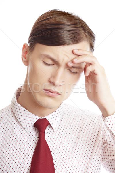Dolor de cabeza empresario sufrimiento estrés emocional hombre triste Foto stock © Novic