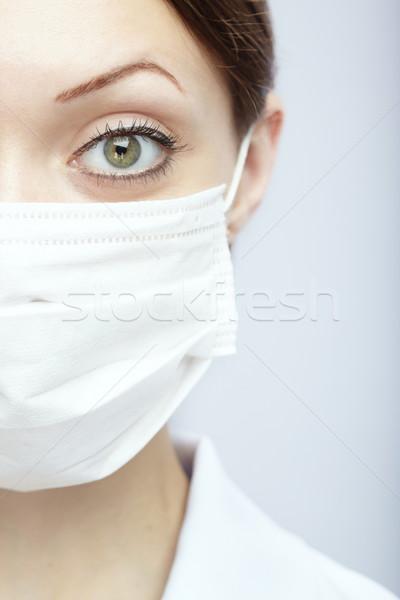 Bescherming vrouwelijke arts masker Blauw medische Stockfoto © Novic