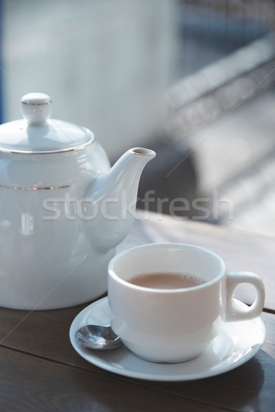 çay fincanı demlik tablo açık havada kafe mutfak Stok fotoğraf © Novic