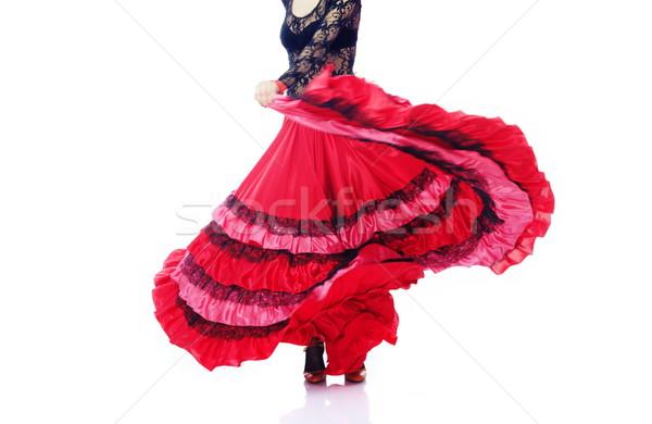 Flamenco mulher dança espanhol traje branco Foto stock © Novic