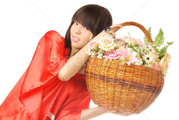 Asian flower girl Stock photo © Novic