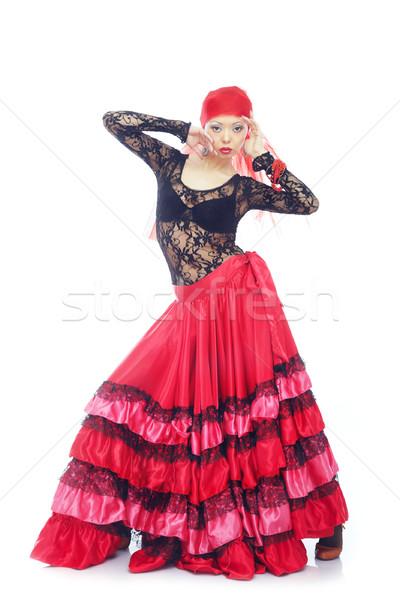 Flamenco hölgy spanyol hagyományos jelmez tánc Stock fotó © Novic