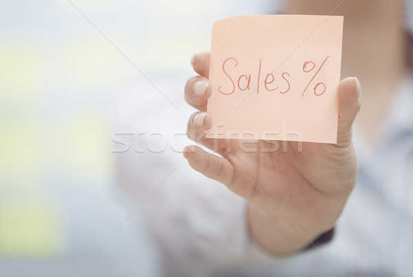 Sales text on adhesive note Stock photo © Novic