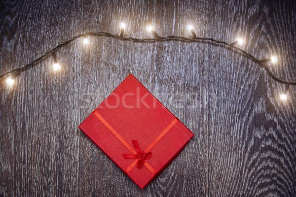 Christmas light and gift box Stock photo © Novic