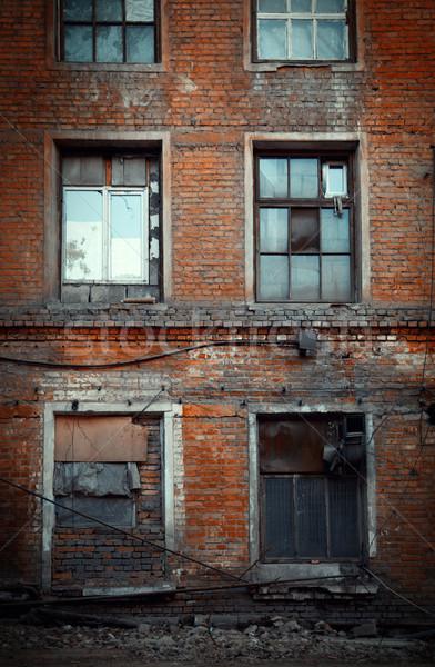 Régi épület piros téglák függőleges fotó épület Stock fotó © Novic