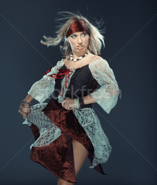 Flamenco táncos női stúdió tánc sebesség Stock fotó © Novic