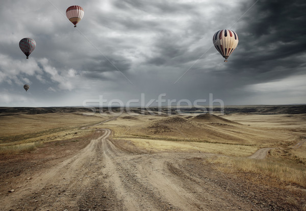 Air balloons over the country road Stock photo © Novic