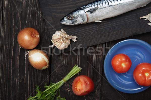 Makreel groenten houten tafel vis keuken tomaat Stockfoto © Novic