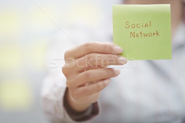 Social network text on adhesive note Stock photo © Novic