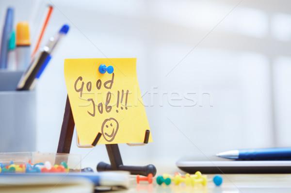 Stock photo: Good job text on adhesive note