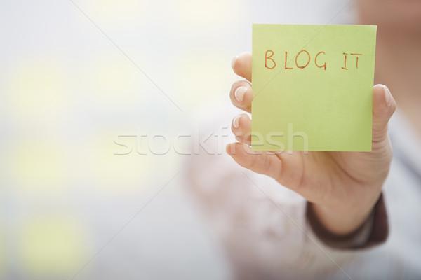 Zdjęcia stock: Blog · tekst · przyczepny · Uwaga · kobieta