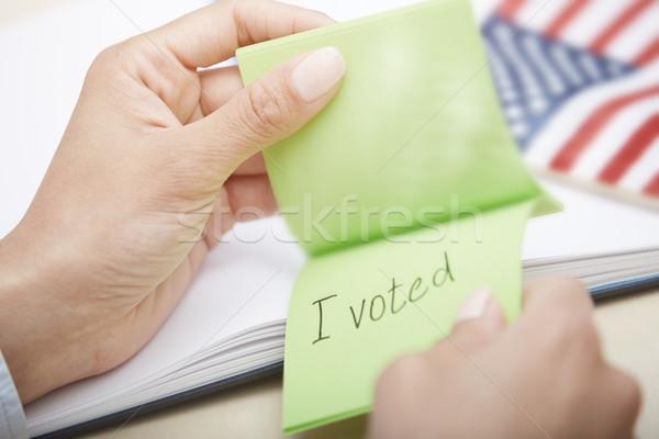 Zdjęcia stock: Głosowanie · ludzi · ręce · przyczepny · Uwaga