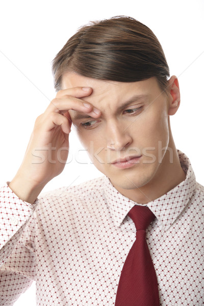 Photo stock: Maux · de · tête · dépression · affaires · souffrance · stress · émotionnel · homme