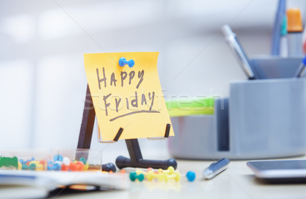 Friday text on adhesive note Stock photo © Novic