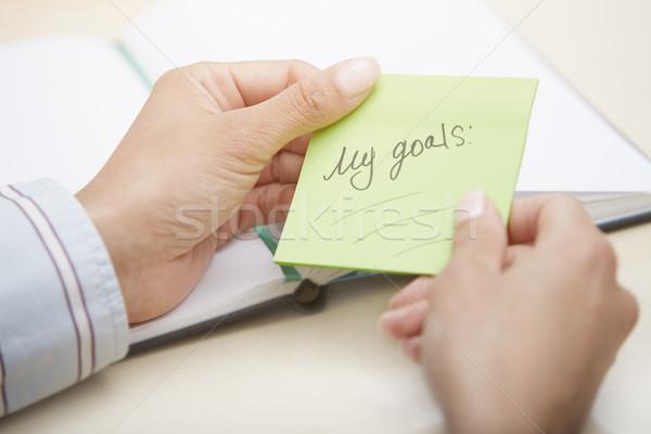 Zdjęcia stock: Mój · planowania · ręce · zielone