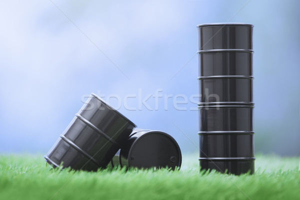 Oil barrels in the grassland Stock photo © Novic