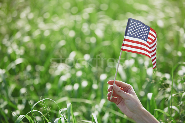 Stock photo: Hand holding US flag for Independence Day