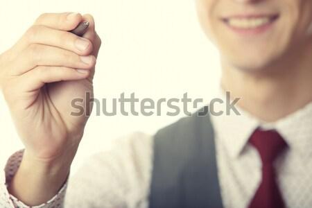 бизнесмен Дать виртуальный молодые улыбаясь Сток-фото © Novic