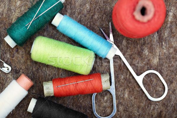 Naaien tools wollen vezel kleur Stockfoto © Novic