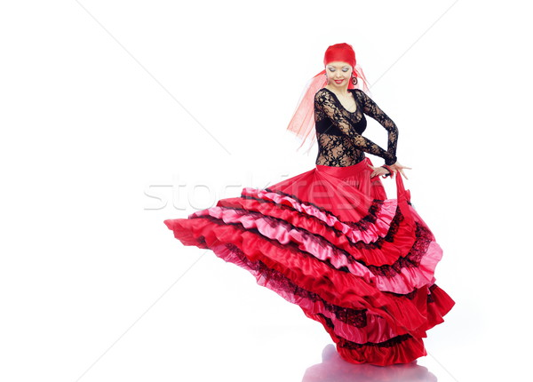Flamenco sorridente senhora dança tradicional traje Foto stock © Novic