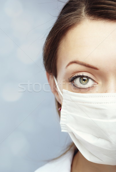 Protection Homme médecin bleu floue visage Photo stock © Novic
