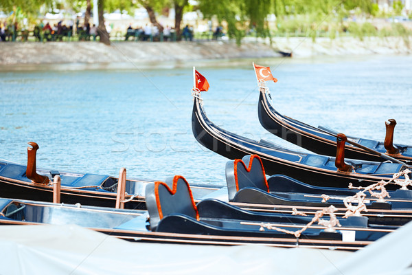Gondolas in the river Stock photo © Novic